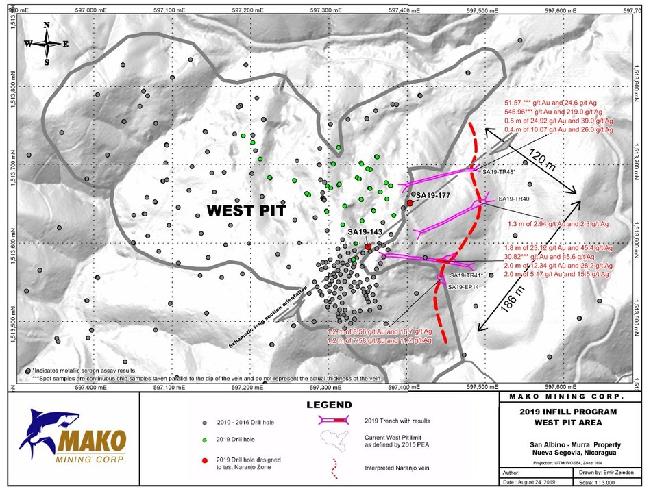 2019 Infill Program - West Pit Area (CNW Group/Mako Mining Corp.)