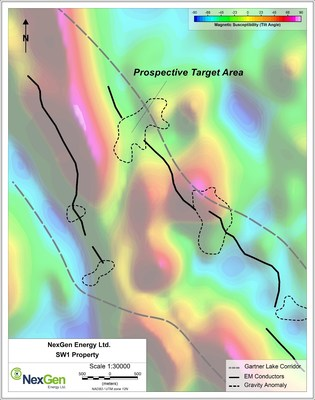 Figure 4: SW1 Target Areas with Gravity Anomalies Coincident with EM Conductor Breaks (CNW Group/NexGen Energy Ltd.)