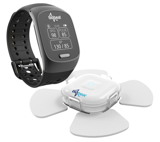Biobeat's smartwatch and patch connect to the cloud through either a smartphone or a dedicated gateway. The user will use one or the other device; whereas the watch is worn on the wrist the patch is to be placed anywhere on the upper torso.