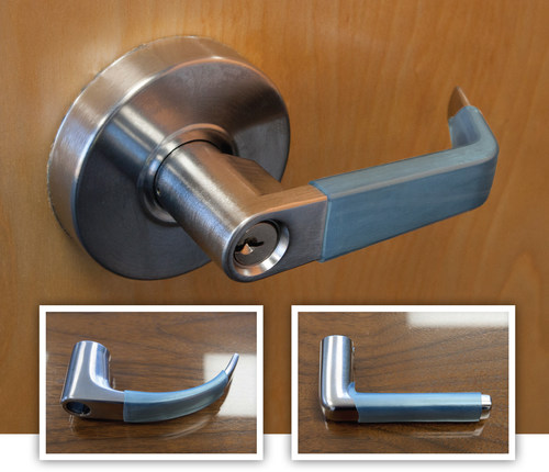 NanoSeptic sleeves turn dirty lever-type door handles into continuously self-cleaning facility touch points.
