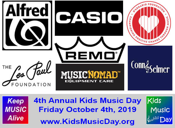 Kids Music Day supporters include: CASIO EMI, Alfred Music, Remo, Conn-Selmer, D'Addario Foundation, Music Nomad Equipment Care and the Les Paul Foundation