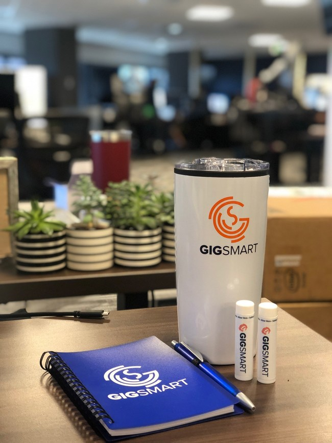Image of GigSmart swag and new office