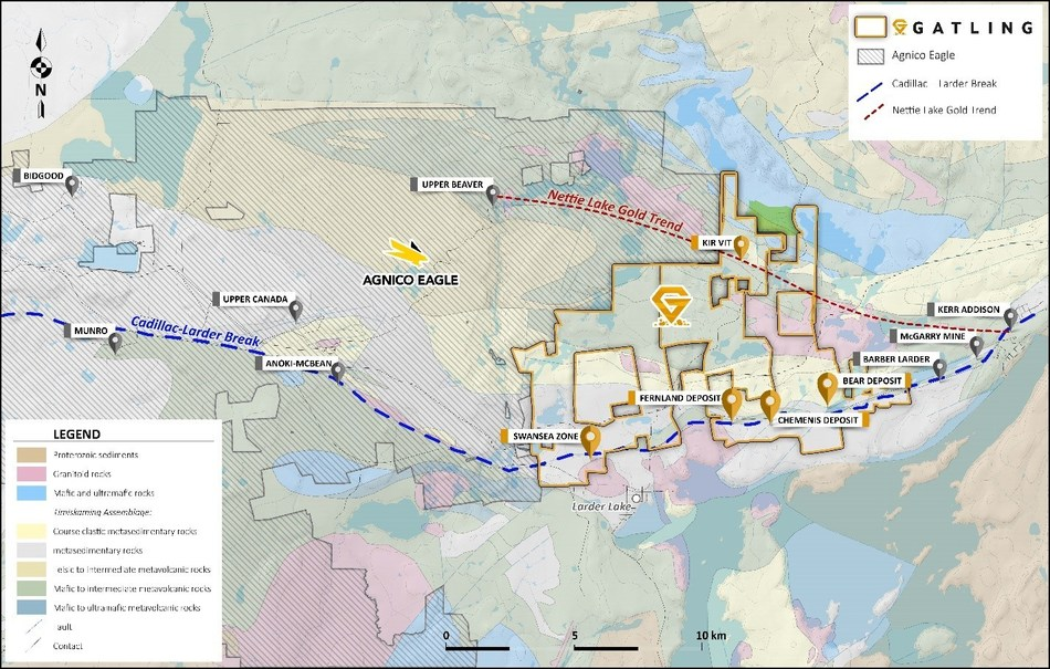 Figure 1. Larder Gold Project showing deposits and prospects with regional gold trends. (CNW Group/Gatling Exploration Inc.)