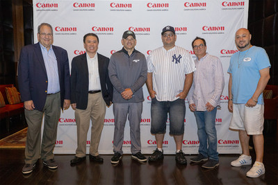 Wayne Chrebet (3rd from left) poses with guests Orlando Lago, Joe Viera, and Anthony Wartel of Marymount School of New York; Edward Chang of Phibro Animal Health Corporation; and Steven Greenbaum of Altigro Benefit Services, Inc.