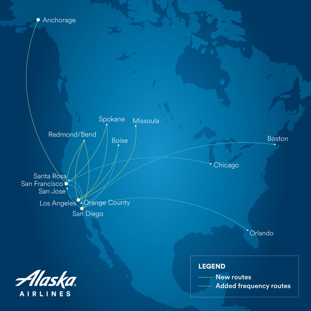 Alaska Airlines expands West Coast service between Pacific ... on hainan airlines route map, vanguard airlines route map, southwest airlines route map, sun country route map, united airlines route map, qantas airlines route map, frontier airlines route map, british airways route map, american airlines route map, hawaiian airlines route map, airtran route map, air india route map, skywest airlines route map, delta route map, air berlin route map, jetblue route map, iberia route map, alaska airlines service map, allegiant airlines route map,