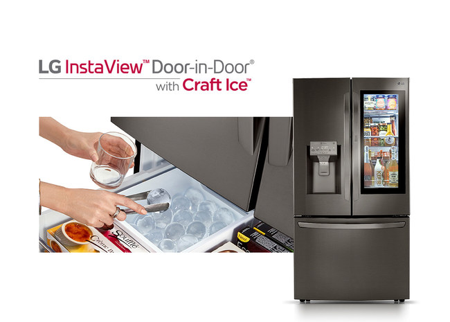 LG Electronics USA, the most-awarded kitchen appliance brand, is redefining the art of home entertaining with the introduction of its latest InstaView™ Door-in-Door® refrigerators – now featuring slow-melting round Craft Ice™ along with crushed and cubed ice, and measured water dispensing technology.