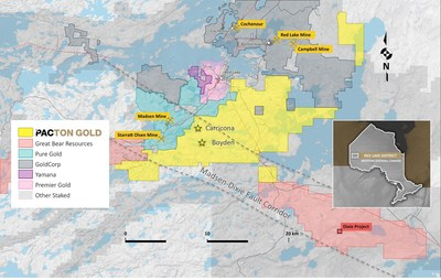 Figure 1. Pacton Gold's Red Lake Gold Project claim map showing other active projects and the Madsen-Dixie fault corridor. (CNW Group/Pacton Gold Inc.)