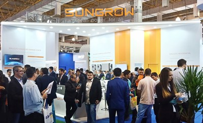 El stand de Sungrow en la expo Intersolar Sudamérica 2019 (PRNewsfoto/Sungrow Power Supply Co., Ltd)