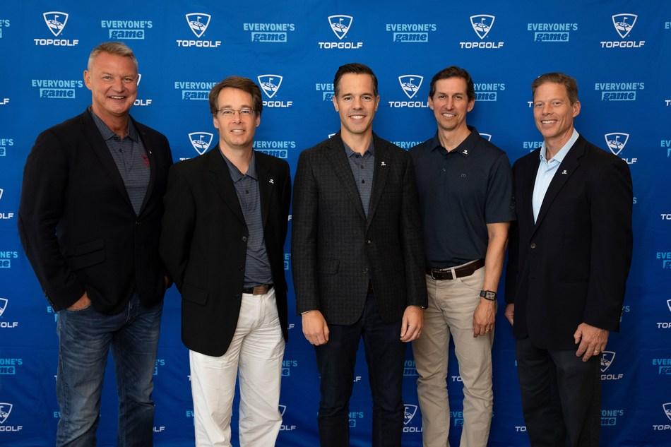 From left to right: Troy Warfield- President, Topgolf International; Eric Grob- CFO Greenreb; David Speiser- CEO Greenreb; William Davenport- CFO Topgolf Entertainment Group; Dolf Berle- CEO Topgolf Entertainment Group