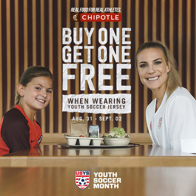 Chipotle Mexican Grill announced today that it's hosting a buy-one-get-one (BOGO) entrée or kid's meal for in-restaurant diners wearing a youth soccer jersey, during Labor Day weekend.