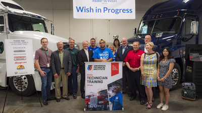 Wish Kid and Cancer Survivor Jaime Gamez with industry and individual contributors who made his wish to train to be a diesel technician come true with a full scholarship to Universal Technical Institute's Diesel and Freightliner programs.