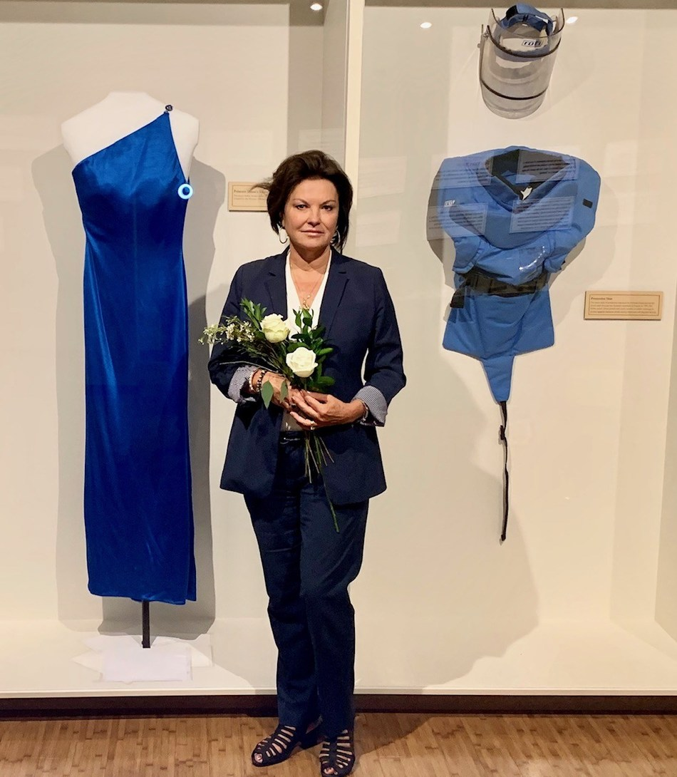 Princess Diana's Blue Versace Gown, Halo Trust Flak Jacket, and Heidi Kuhn, Founder and CEO of Roots of Peace, at The Leonardo Mines to Vines Exhibit