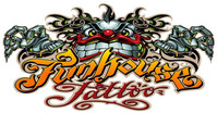 The official logo for the Funhouse Tattoo shop in San Diego, CA