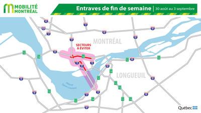 Carte générale des entraves, fin de semaine du 30 août (Groupe CNW/Ministère des Transports)