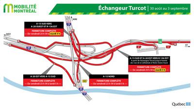 Fermeture dans l'échangeur Turcot, fin de semaine du 30 août (Groupe CNW/Ministère des Transports)