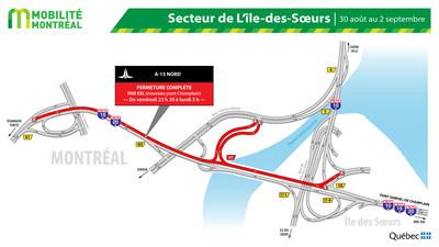 A15 NORD, secteur Île des Sœurs, fin de semaine du 30 août (Groupe CNW/Ministère des Transports)
