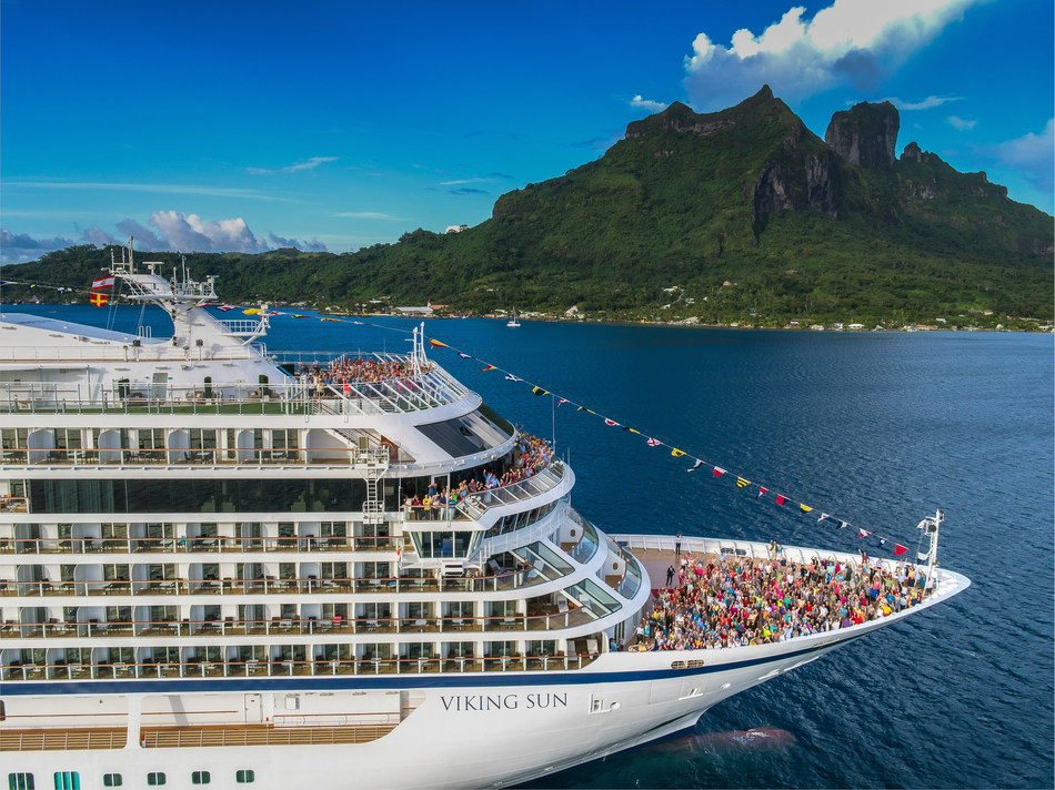 """The 930-guest Viking Sun, seen here in Bora Bora, French Polynesia. Viking will attempt to set the GUINNESS WORLD RECORD for the """"longest continuous passenger cruise"""" with its Ultimate World Cruise itinerary, embarking August 31, 2019, in London. Guests on Viking Sun will sail for 245 days, visiting six continents, 51 countries and 111 ports. For more information, visit www.vikingcruises.com."""