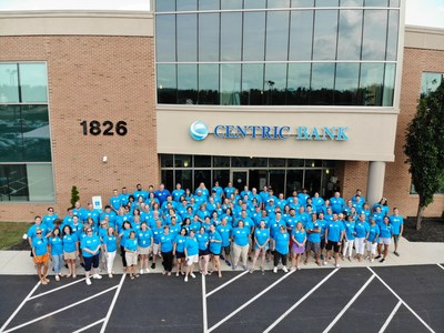 Centric Bank employees gather at the corporate campus for an Employee Appreciation Day featuring games, food trucks, and a dunk tank.