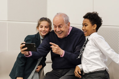 Gyles Brandreth launches Poetry Together with Viviana and Victor from St Joseph's Catholic Primary School, London