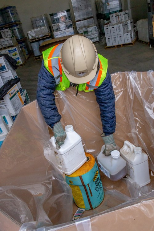 Containers of unwanted and old pesticides and livestock/equine medications recovered at a Cleanfarms collection event. (CNW Group/CleanFARMS Inc.)