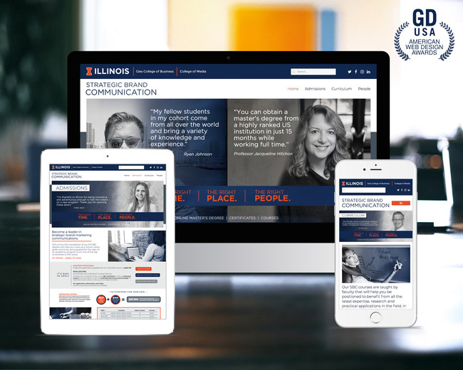 A Web site atCommunications created for the University of Illinois' Strategic Brand Communication program recently received Graphic Design USA magazine's American Web Design Award.