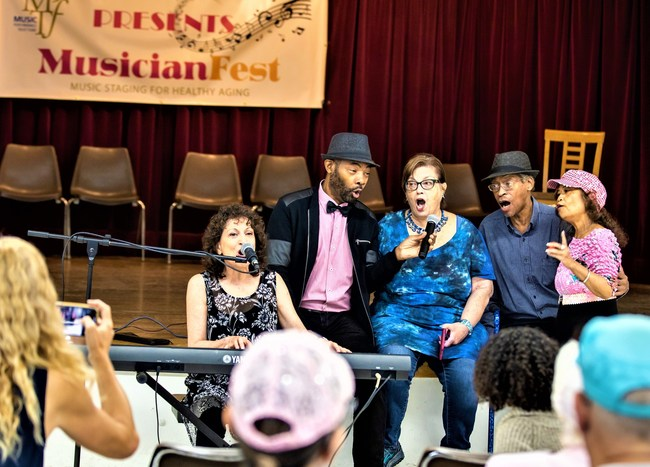 Jamie Shaheen of the American Federation of Musicians Local 47-Los Angeles recently performed with community members at a MusicianFest event at the Long Beach Senior Center. Over 2,500 musicians have brought this interactive, age-friendly program to older adults in the United States and Canada since 2015. View the related film at www.musicpf.org. Photo: Lucius Gallo