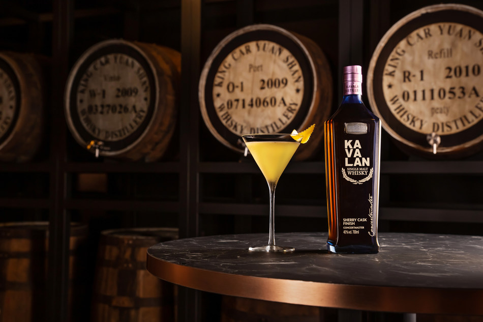 "The ""Long Story Short"" cocktail based on the Vesper Martini replaces the vodka ingredient with Kavalan's Concertmaster Sherry Finish, which has a signature depth of tropical fruits overlaid with sweet dried fruits and savoury nuttiness. (PRNewsfoto/Kavalan)"