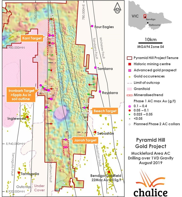 Figure 1 Muckleford Area AC drilling and regional gold occurrences over 1VD gravity geophysics (CNW Group/Chalice Gold Mines Limited)