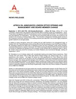 Africa Oil Announces London Office Opening and Management and Board Member Change (CNW Group/Africa Oil Corp.)
