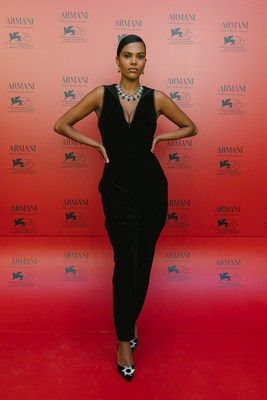 Tina Kunakey at the exclusive dinner Armani beauty hosted in Venice to honor cinematography during the 76th Venice International Film Festival. Credits: Armani beauty