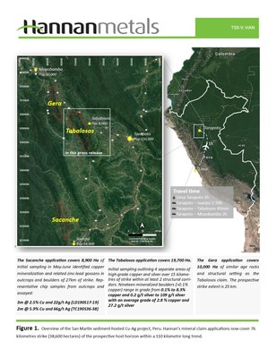 Figure 1. Overview of the San Martin sediment-hosted Cu-Ag project, Peru. Hannan's mineral claim applications now cover 76 kilometres strike (38,600 hectares) of the prospective host horizon within a 110 kilometre long trend. (CNW Group/Hannan Metals Ltd.)