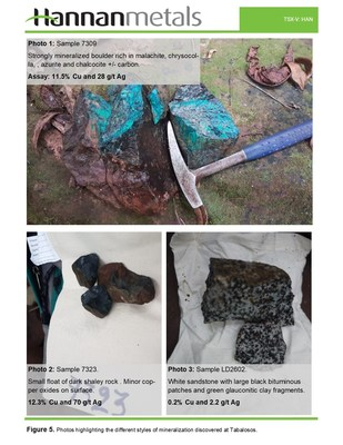 Figure 5. Photos highlighting the different styles of mineralization discovered at Tabalosos. (CNW Group/Hannan Metals Ltd.)