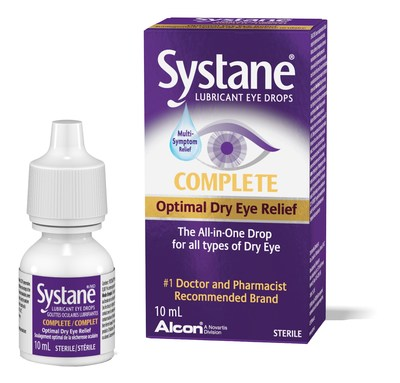 Systane Complete is the first all-in-one drop for all types of dry eye, featuring tiny, nano-sized lipid droplets that replenish and lock in moisture across the eye surface. Photo credit: Alcon Canada (CNW Group/Alcon Canada)