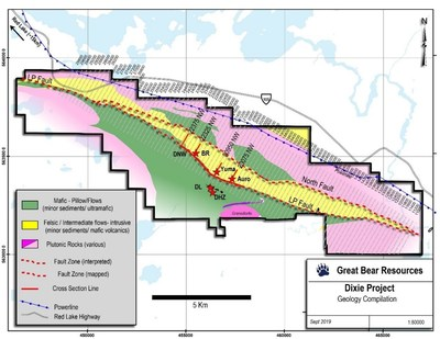 Figure 1: Planned exploration drill sections along 18 kilometres of the LP fault. (CNW Group/Great Bear Resources Ltd.)
