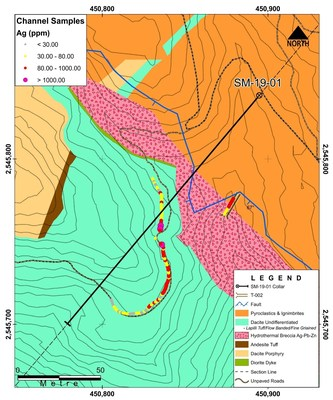 Figure 2: Faisanes Target Tunnel T-002: Location with SMtr-001 and SM-19-01 (CNW Group/Goldplay Exploration Ltd)
