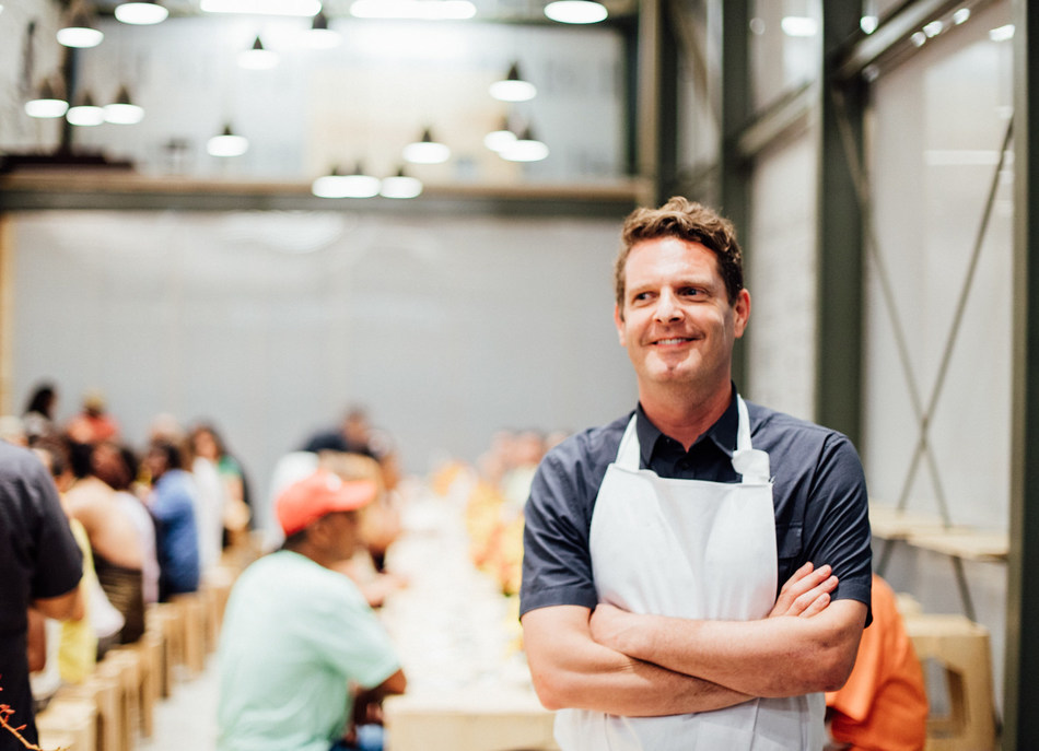 David Hertz, Charles Bronfman Prize 2019 recipient, Co-Founder and President of Gastromotiva, in his restaurant and school Refettorio Gastromotiva in Lapa, Rio de Janeiro.