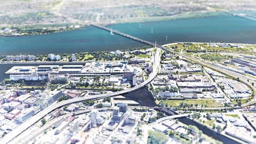 Le secteur Bridge-Bonaventure, d'une superficie de 2,3 km2, est situé à cheval sur les arrondissements du Sud-Ouest et de VilleMarie. Il comprend les abords des ponts Champlain et Victoria, le parc d'entreprises de la Pointe-Saint-Charles, les rives du fleuve, les bassins Peel et Wellington, la Cité du Havre, la Pointe-du-Moulin ainsi que le quai Bickerdike. (Groupe CNW/Office de consultation publique de Montréal)