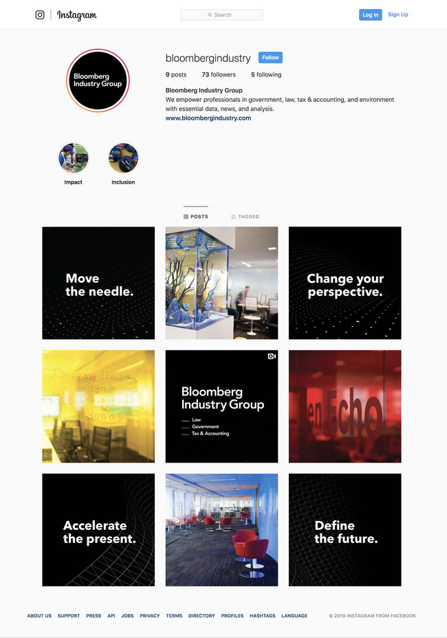 Bloomberg Industry Group on Instagram - @BloombergIndustry (PRNewsfoto/Bloomberg Industry Group)
