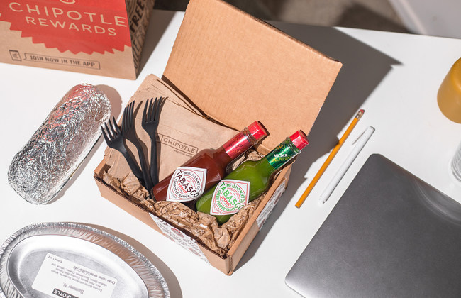 "Chipotle will give the first 50 digital orders in select markets a free ""Things You 'Borrow' Kit"" with their delivery order."