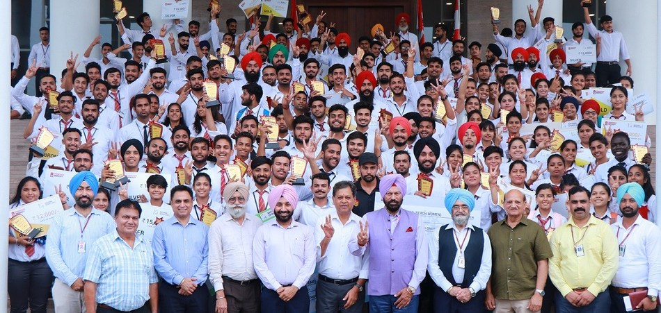 International and National Medal Winners and Sports Achievers of Chandigarh University in a jubilant mood after being honored by Punjab Government