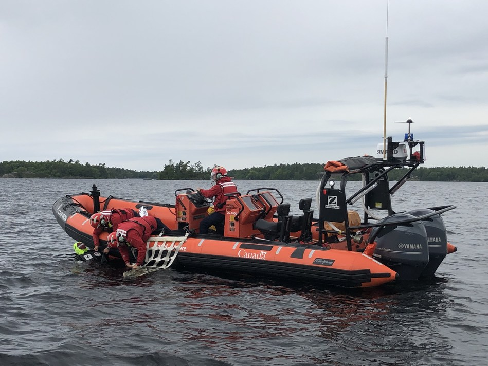 Canadian Coast Guard IRB crew from Brebeuf Island during a training exercise on Georgian Bay. The IRB season in Ontario closed for the season on September 4, 2019. (CNW Group/Fisheries and Oceans Central & Arctic Region)