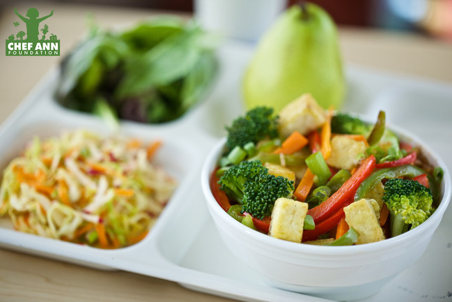 Through Get Schools Cooking, districts can serve up healthy dishes like this scratch-cooked veggie tofu rice bowl.