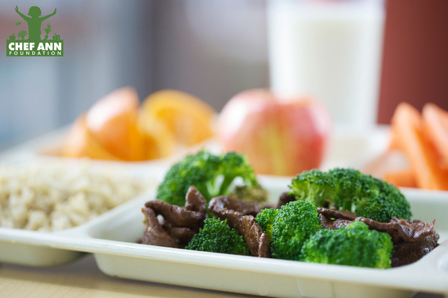 Healthy school lunch featuring scratch-cooked beef and broccoli.