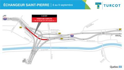 Fermetures - Échangeur Saint-Pierre (Groupe CNW/Ministère des Transports)