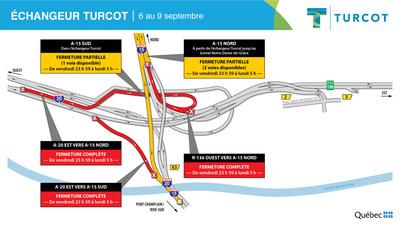 Fermetures − Échangeur Turcot (Groupe CNW/Ministère des Transports)