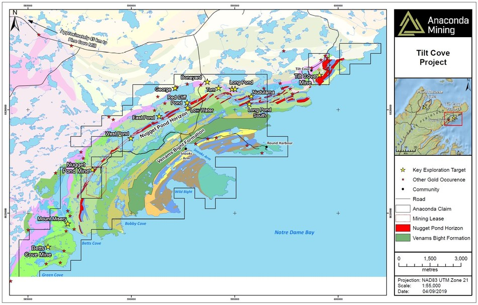 A geological map of the Tilt Cove Project in the Baie Verte Mining District of Newfoundland. The map highlights the Nugget Pond Horizon and the Venams Bight Formation as key host rocks to gold deposits at both the Tilt Cove and Point Rousse Projects as well as key exploration targets. The project is located approximately 45 km from the Company's operating Pine Cove mill and tailings storage facilities. (CNW Group/Anaconda Mining Inc.)