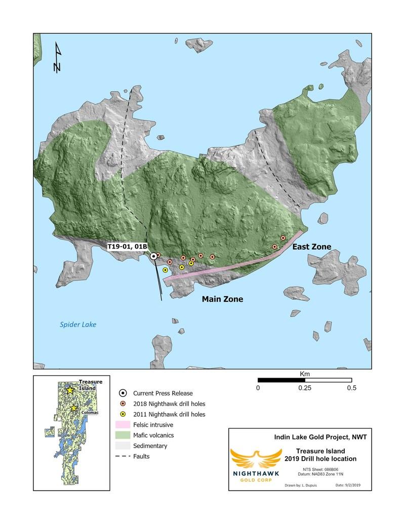 Figure 4. Plan View - Treasure Island Drillhole Locations (CNW Group/Nighthawk Gold Corp.)