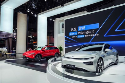 Xpeng P7 coupe and G3 SUV at Chengdu Motor Show (PRNewsfoto/XPENG Motors)
