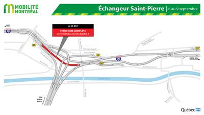 A20 Est dans l'échangeur Saint-Pierre, fin de semaine du 6 septembre (Groupe CNW/Ministère des Transports)