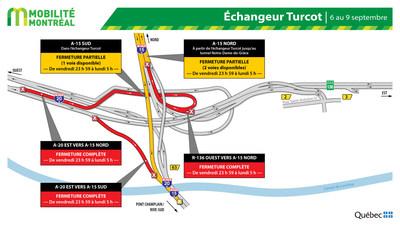 Fermetures dans l'échangeur Turcot, fin de semaine du 6 septembre (Groupe CNW/Ministère des Transports)